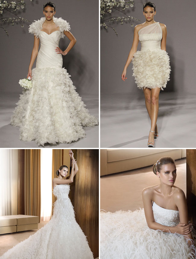 white feather wedding dresses