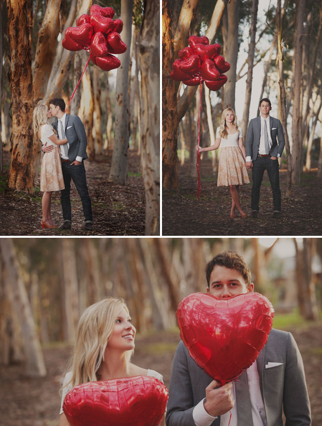 engagement photos with heart balloons