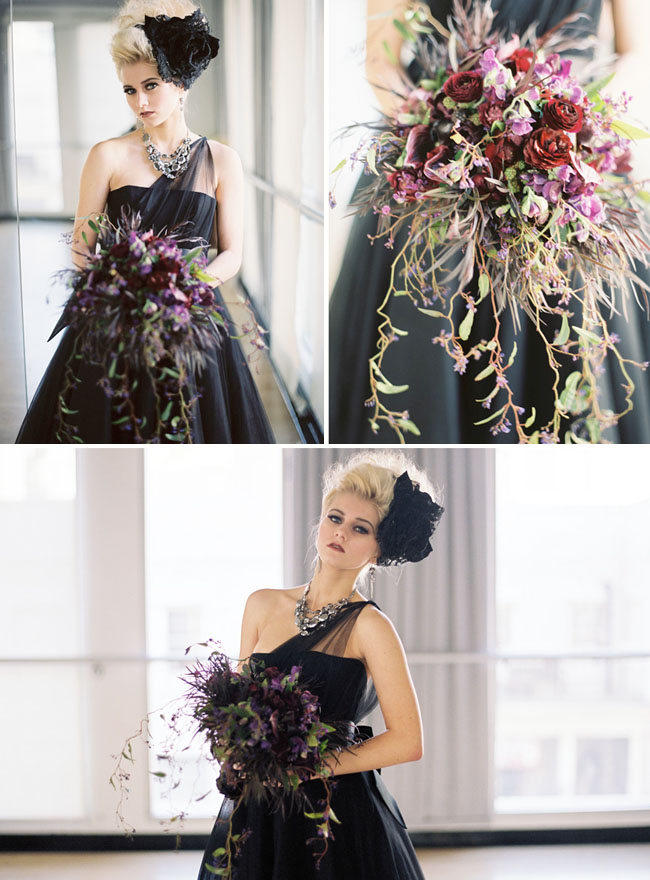 black wedding bouquet