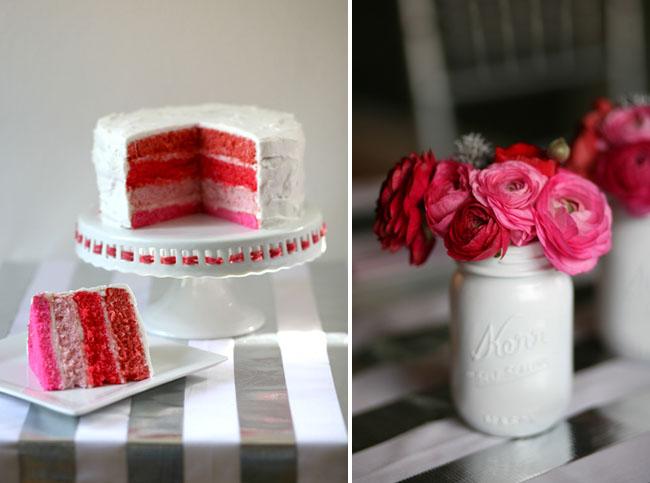 pink layered cake
