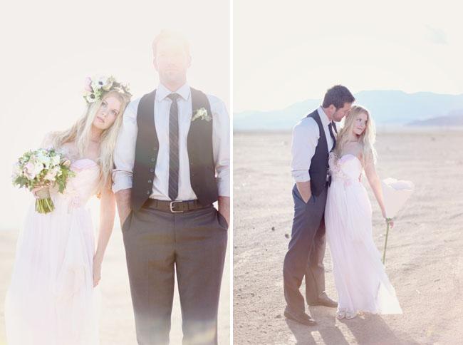pink wedding dress with flower