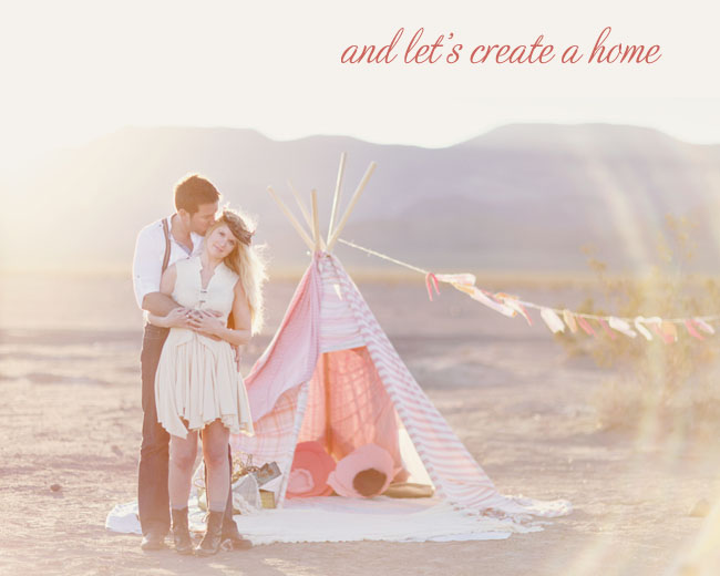 hippie teepee in desert with bunting
