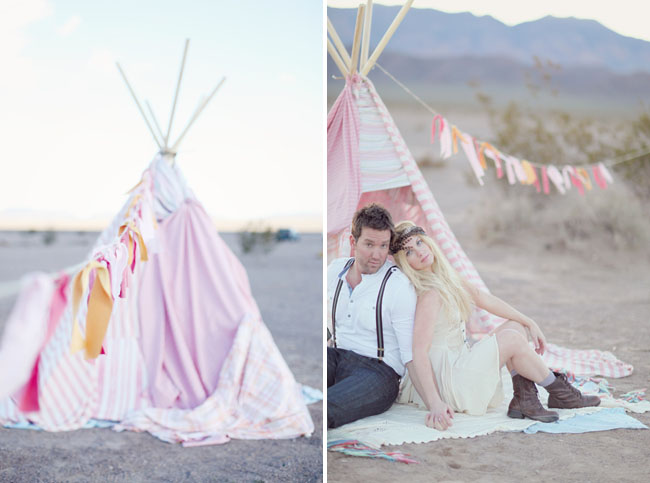 teepee with fabric bunting