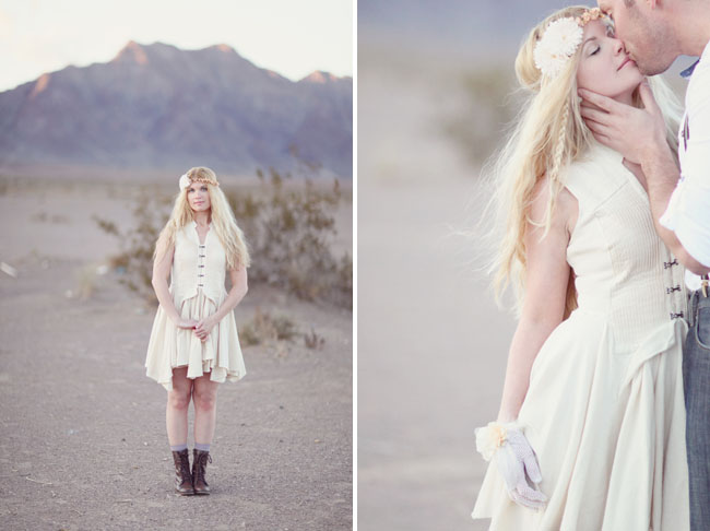girl in the desert with flower halo