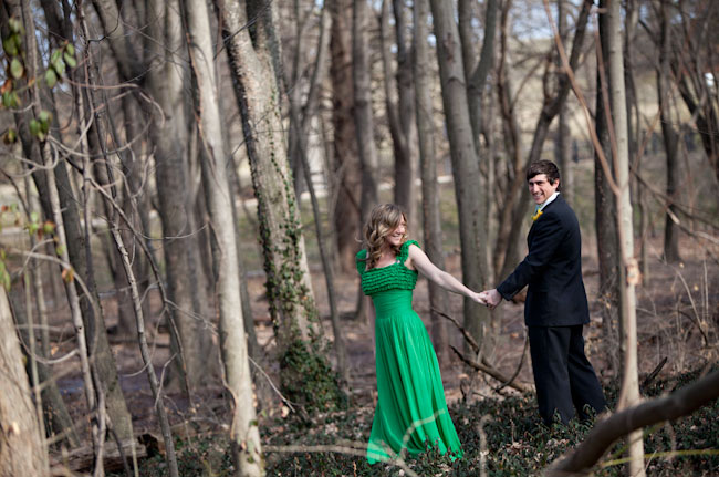 green wedding dress woods