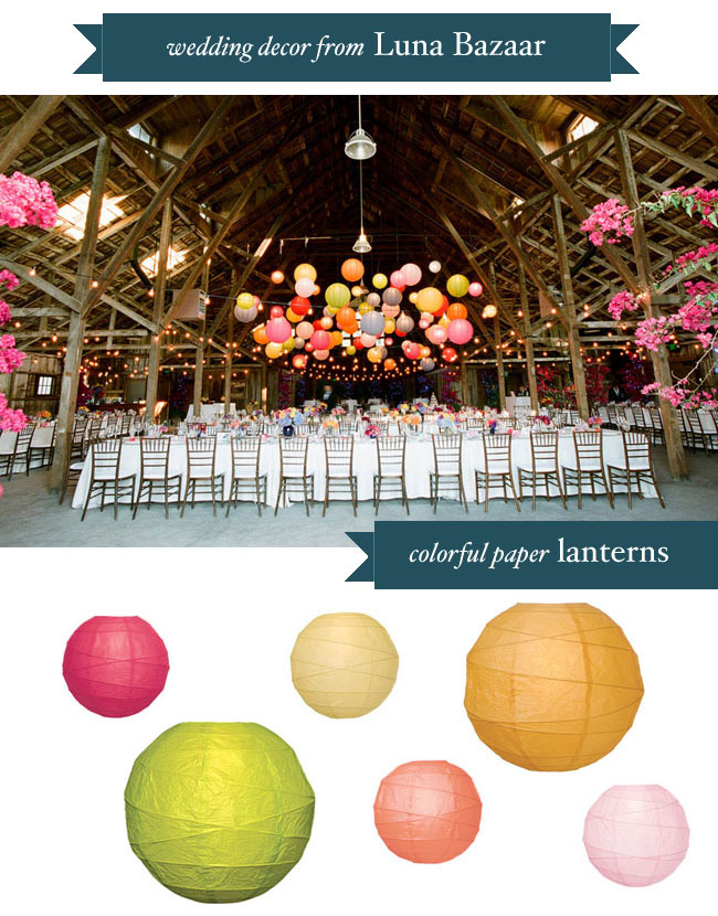 colorful paper lanterns hanging in barn