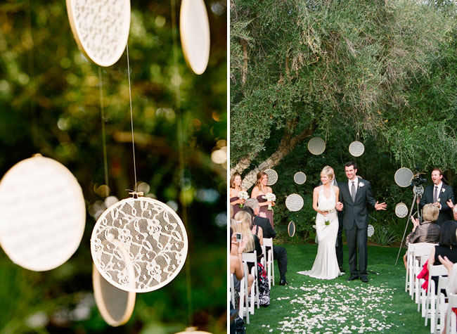 Lace embroidery hoops wedding ceremony