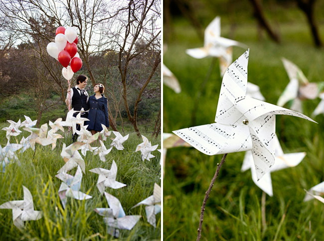 pinwheels made of music paper