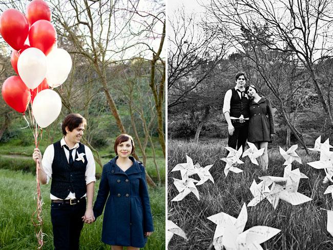 balloons and pinwheels engagement photos