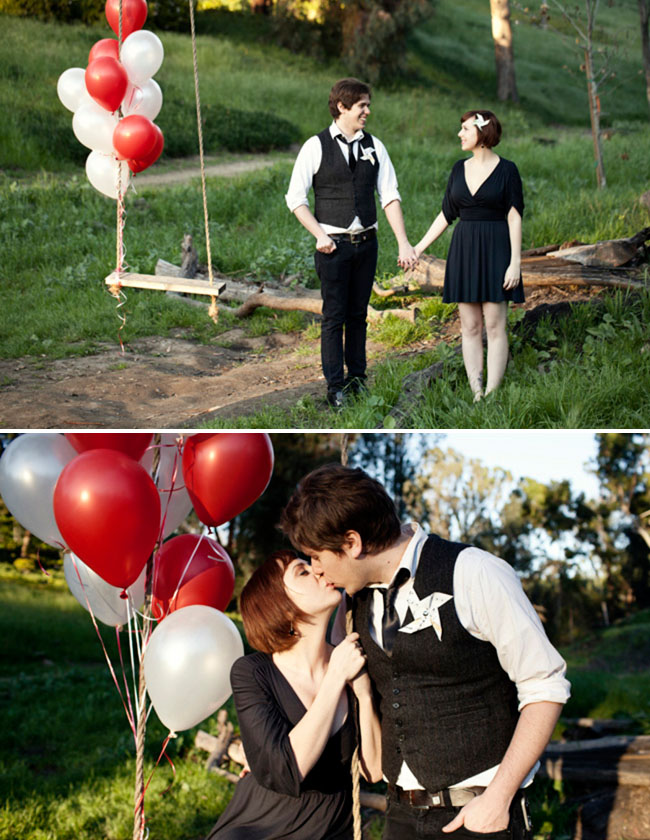 balloons in engagement photos
