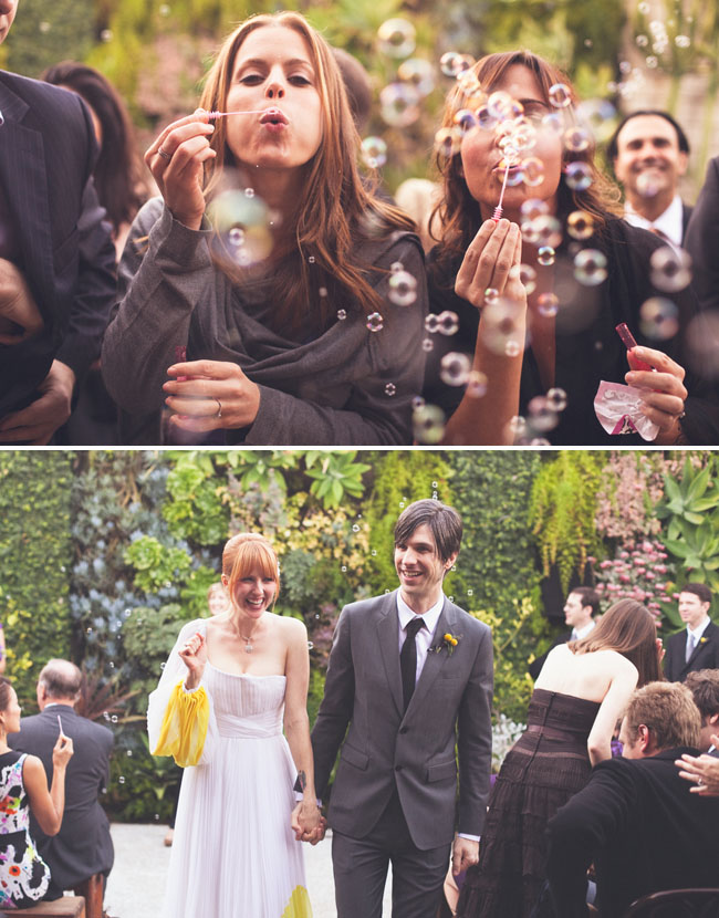 bubbles at a wedding