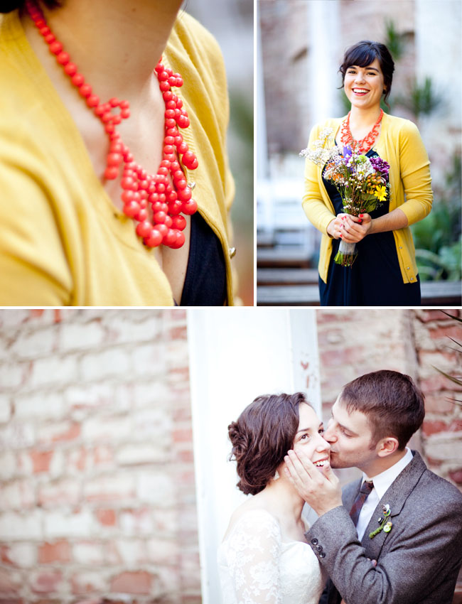 bridesmaid with yellow sweater