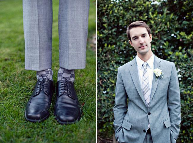 groom in grey socks