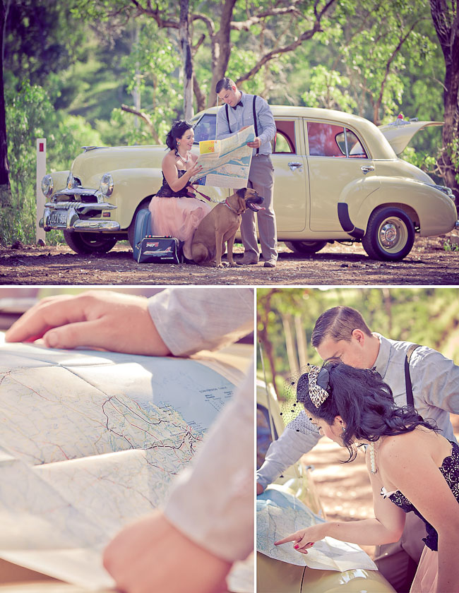 vintage car engagement photos