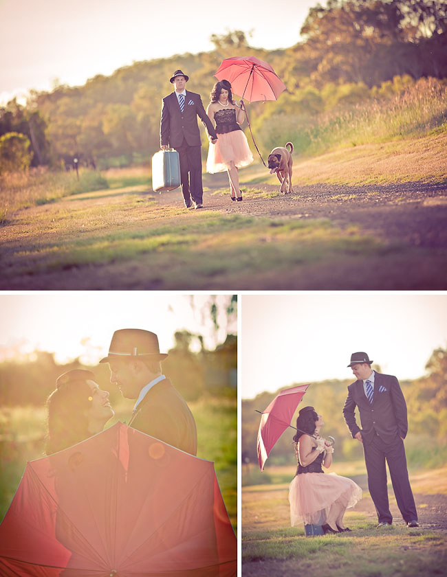 engagement photos with umbrella