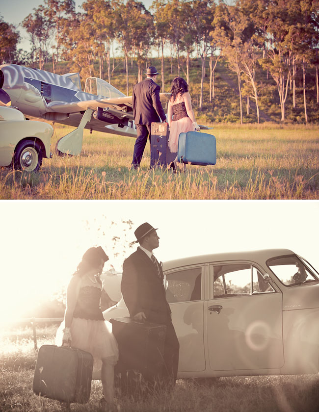 engagement photos with plane
