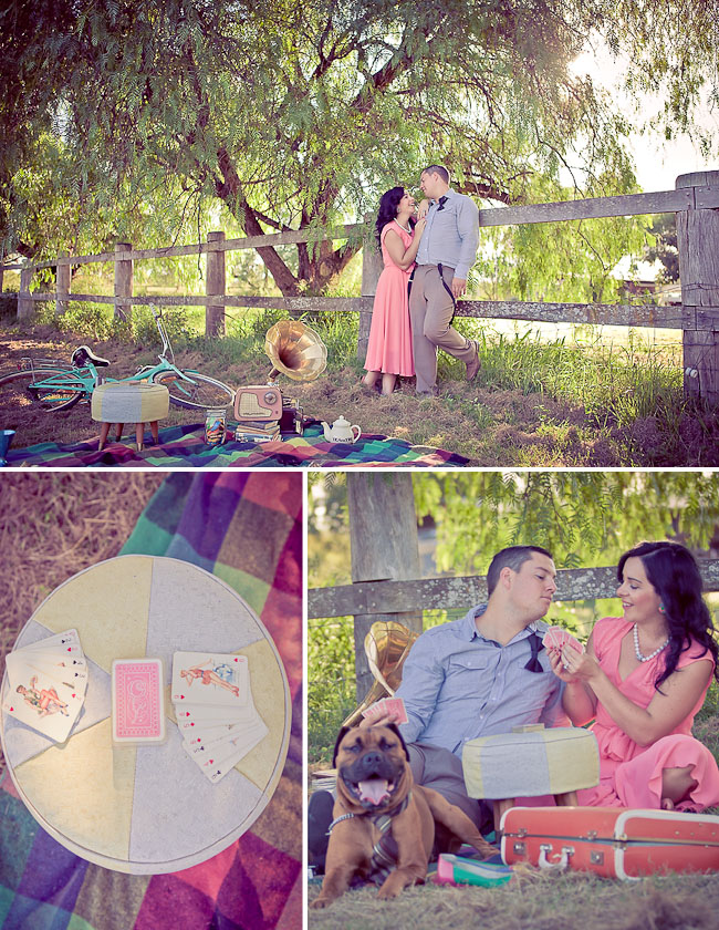 engagement photos with pink dress