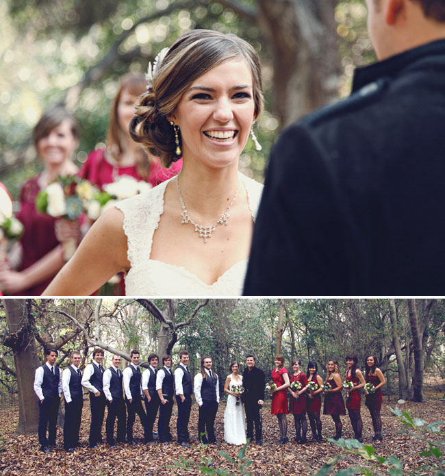 wedding party in the woods