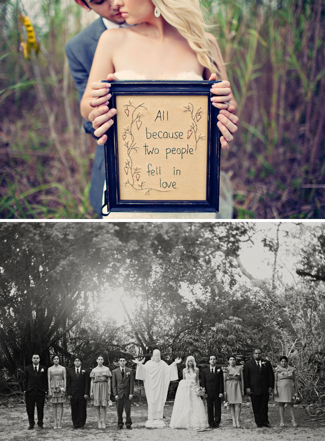 bridal party in black and white photography