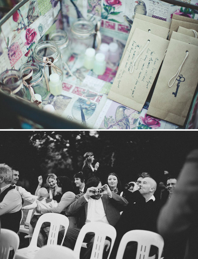 vintage cameras at wedding