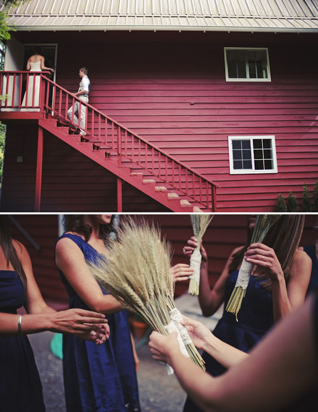 bridesmaids with wheat bouquets