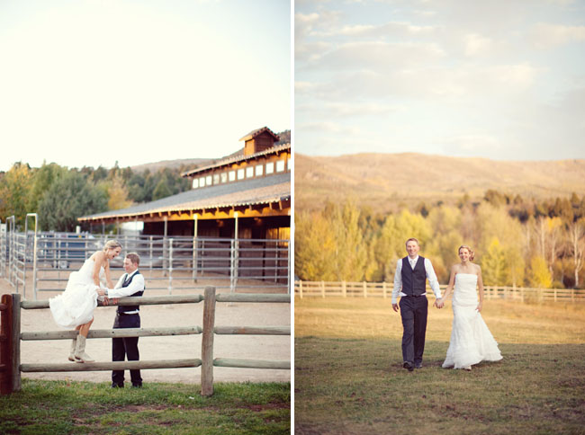 barn wedding couple