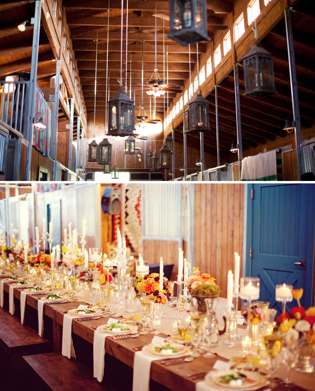 reception tables in horse stalls