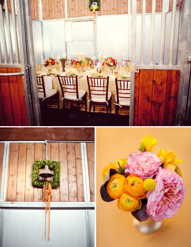 reception tables in the barn