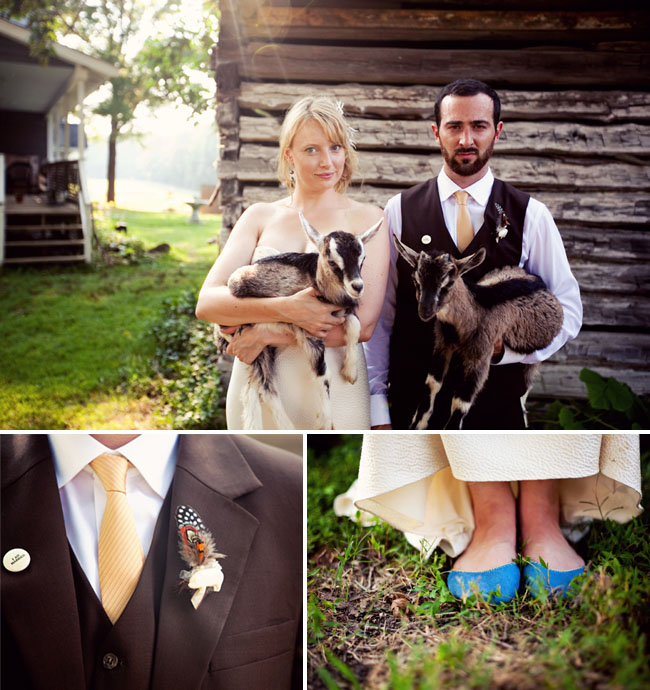 bride and groom with goats