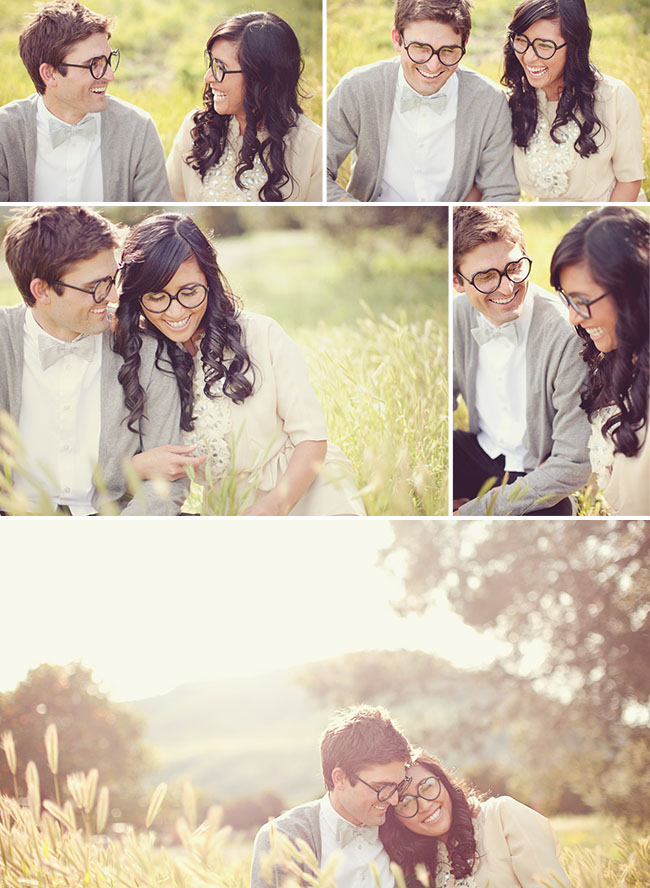 engagement photos with heart glasses