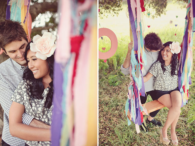 engagement photos on a swing