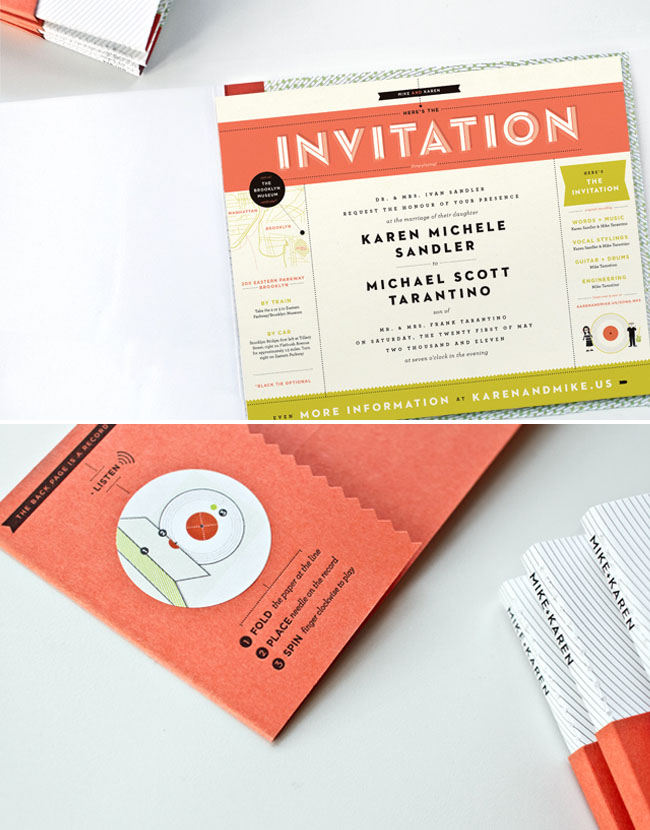 A Paper Record Player Wedding Invite