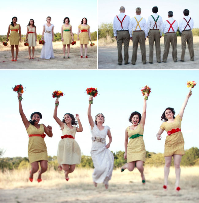 bridal party in colorful suspenders