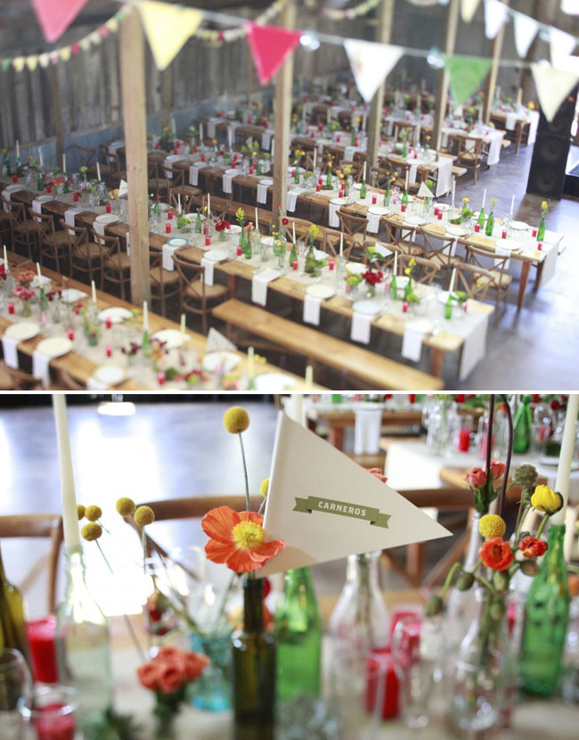 barn wedding with glass bottles