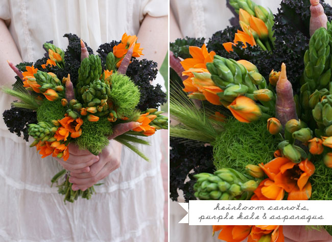 carrot and asparagus bouquet
