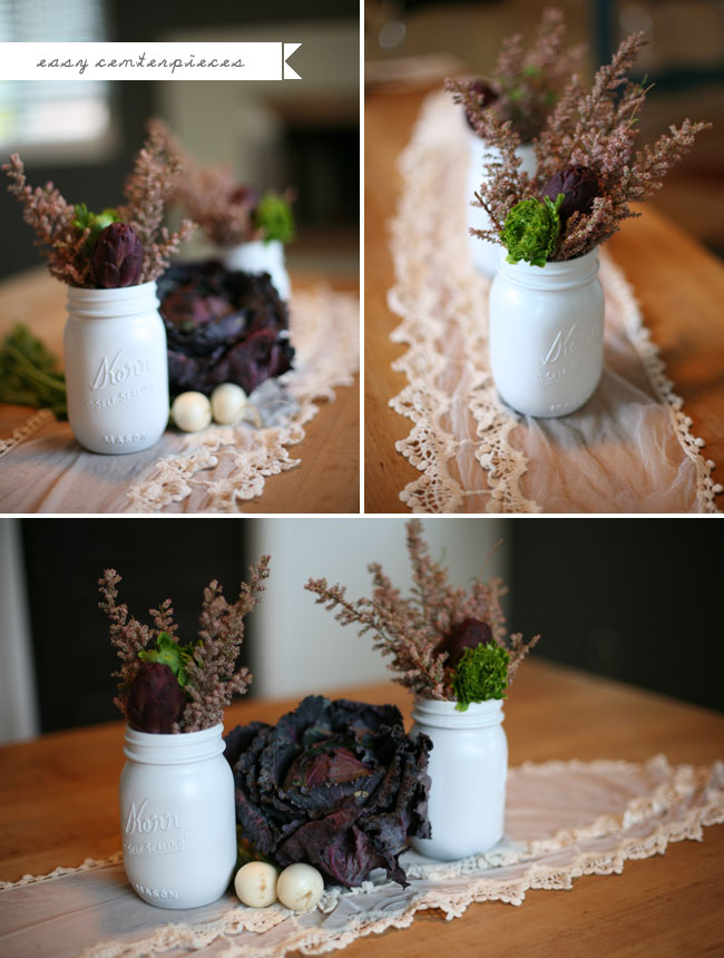 artichoke centerpieces with white mason jars