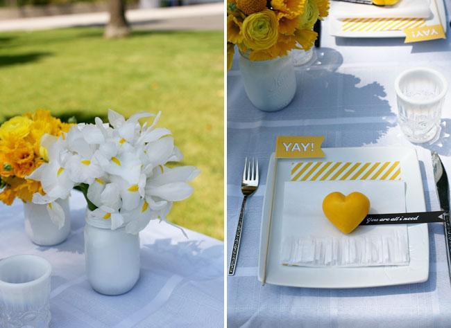 yellow heart wedding