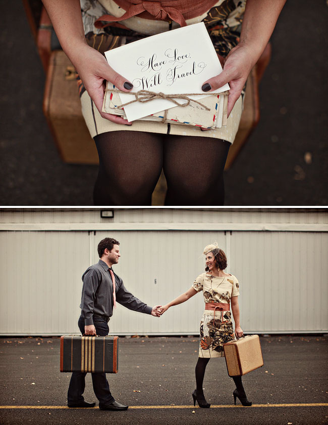 engagement photos with suitcases