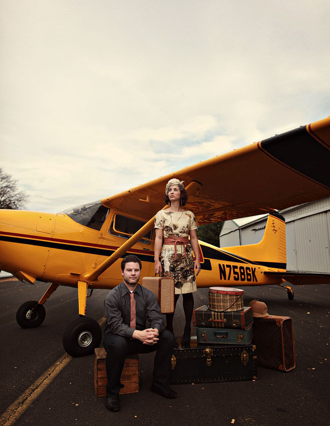 vintage travel engagement photos airplane