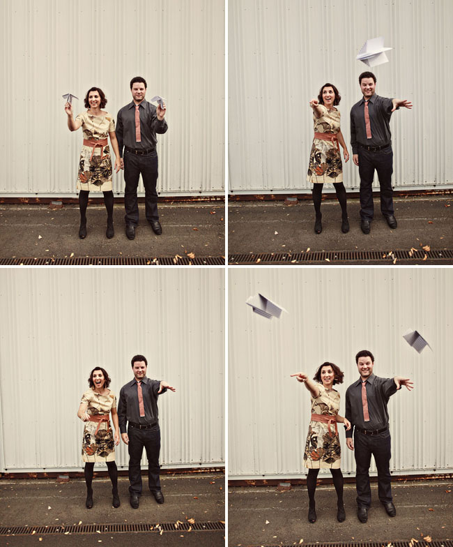 paper airplanes engagement photos