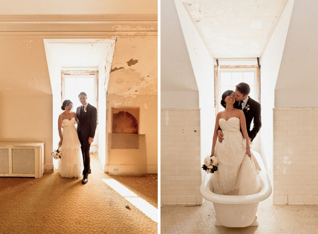 bride and groom in bathtub
