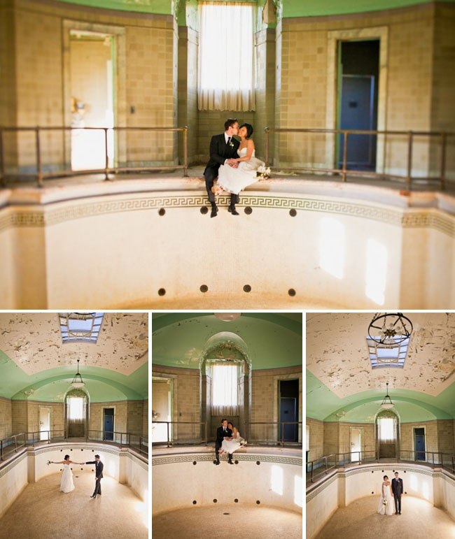 bride and groom in abandoned pool