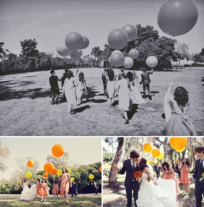 bridal party with giant balloons