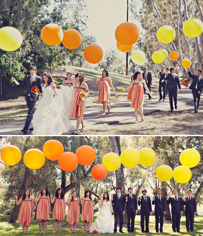 bridal party carrying large balloons