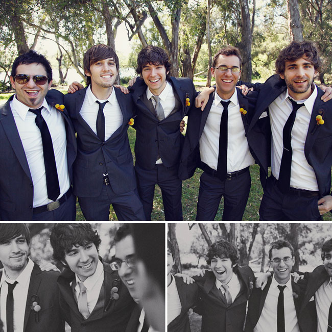 groomsmen with billy ball boutonniere