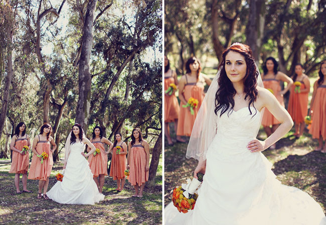 bridal party in orange dresses
