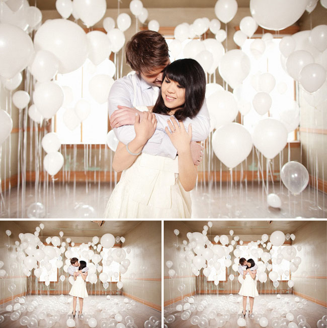 room of lots of white balloons