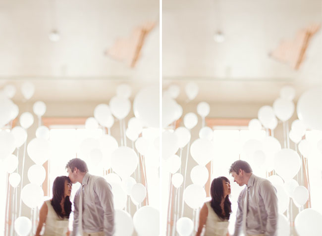 engagement photos in a room of balloons