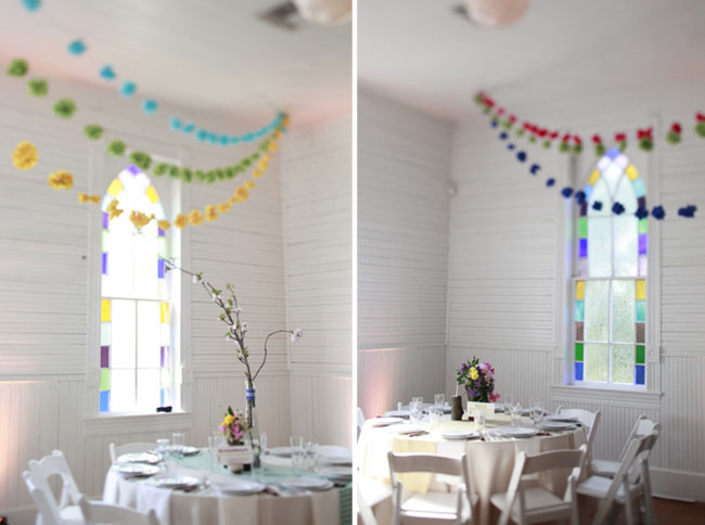 colorful wedding bunting