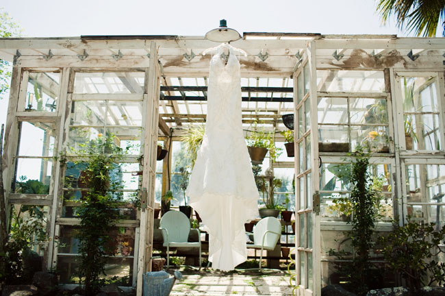 wedding dress in a greenhouse